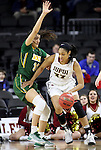 SIOUX FALLS, SD: MARCH 4: Mikale Rogers #33 of IUPUI drives on Reilly Jacobsen #32 of North Dakota State on March 4, 2017 during the Summit League Basketball Championship at the Denny Sanford Premier Center in Sioux Falls, SD. (Photo by Dick Carlson/Inertia)