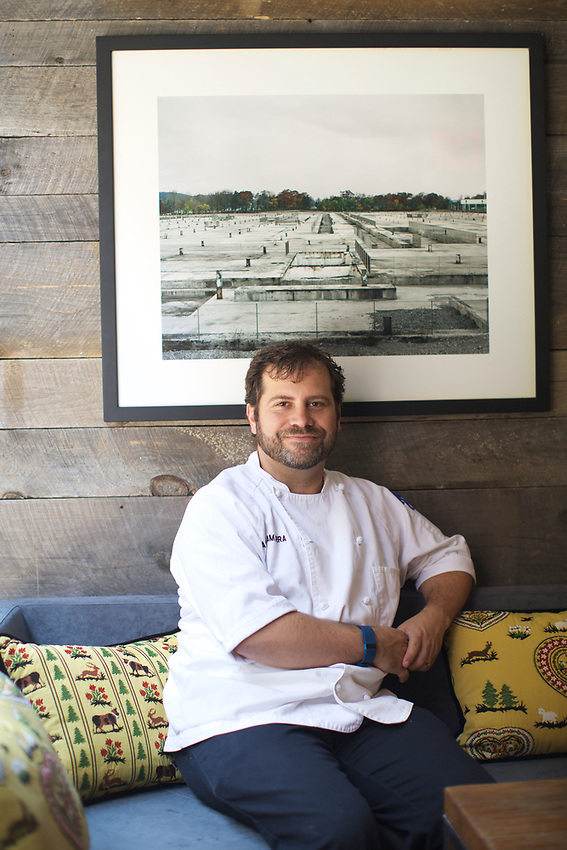 NEW YORK, NY - June 28 2017: Chef Galen Zamarra, owner of Mas (Farmhouse), which reopens this week after a fire left it closed for nearly a year.<br /> <br /> Credit: Clay Williams for NYMag.com.<br /> <br /> &copy; Clay Williams / http://claywilliamsphoto.com