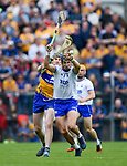 Seadna Morey of Clare  in action against Maurice Shanahan of Waterford during their Munster  championship round robin game at Cusack Park Photograph by John Kelly.