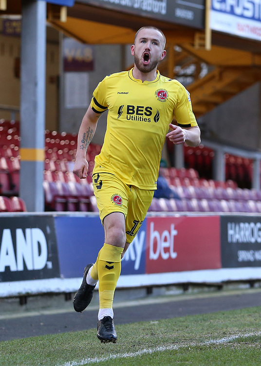 Fleetwood Town's Paddy Madden celebrates scoring his side's first goal <br /> <br /> Photographer David Shipman/CameraSport<br /> <br /> The EFL Sky Bet League One - Bradford City v Fleetwood Town - Saturday 9th February 2019 - Valley Parade - Bradford<br /> <br /> World Copyright &copy; 2019 CameraSport. All rights reserved. 43 Linden Ave. Countesthorpe. Leicester. England. LE8 5PG - Tel: +44 (0) 116 277 4147 - admin@camerasport.com - www.camerasport.com