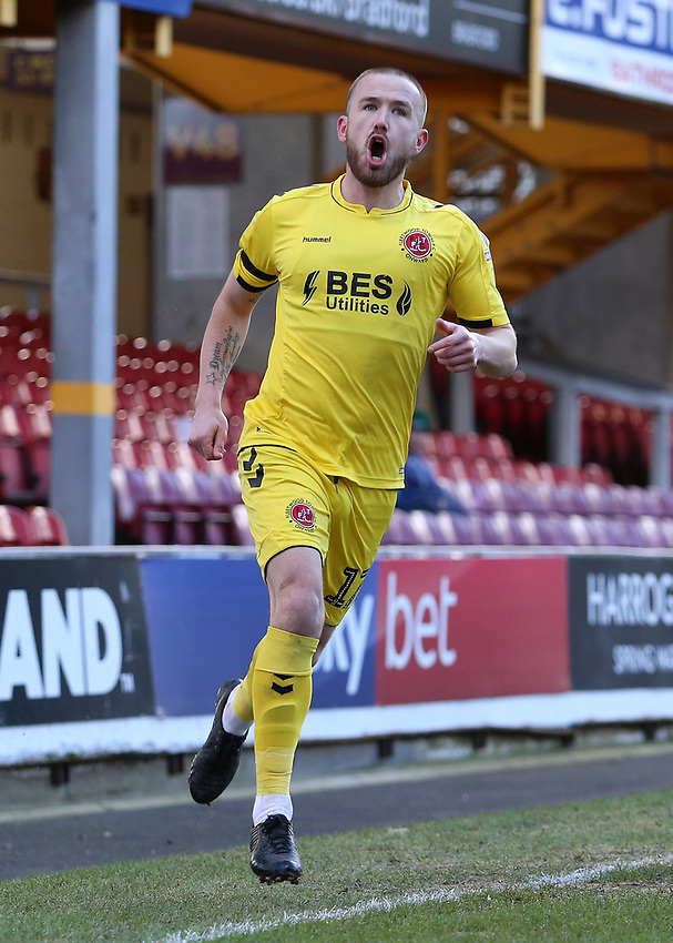 Fleetwood Town's Paddy Madden celebrates scoring his side's first goal <br /> <br /> Photographer David Shipman/CameraSport<br /> <br /> The EFL Sky Bet League One - Bradford City v Fleetwood Town - Saturday 9th February 2019 - Valley Parade - Bradford<br /> <br /> World Copyright © 2019 CameraSport. All rights reserved. 43 Linden Ave. Countesthorpe. Leicester. England. LE8 5PG - Tel: +44 (0) 116 277 4147 - admin@camerasport.com - www.camerasport.com