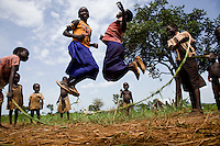 Kids playing  in  the Nyori refugee camp in South Sudan.