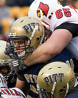 November 08, 2008: Pitt linebacker Scott McKillop gets choked. The Pitt Panthers defeated the Louisville Cardinals 41-7 on November 08, 2008 at Heinz Field, Pittsburgh, Pennsylvania.