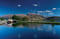 Ben Nevis and The Caledonian Canal at Corpach near Fort William, Lochaber, Highlands<br /> <br /> Copyright www.scottishhorizons.co.uk/Keith Fergus 2011 All Rights Reserved