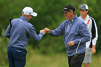 Ronan Mullarney and Eddie McCormack (Galway) on the 18th green during the Final of the AIG Barton Shield in the AIG Cups & Shields Connacht Finals 2019 in Westport Golf Club, Westport, Co. Mayo on Saturday 10th August 2019.<br /> <br /> Picture:  Thos Caffrey / www.golffile.ie<br /> <br /> All photos usage must carry mandatory copyright credit (© Golffile | Thos Caffrey)