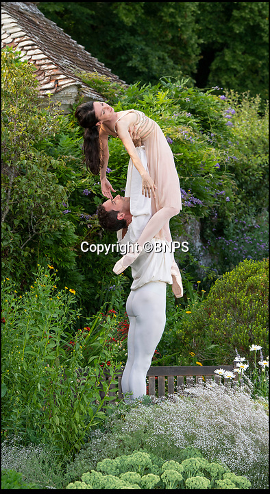 BNPS.co.uk (01202 5588933)<br /> Pic: PhilYeomans/BNPS<br /> <br /> Former Royal Ballet pricipal Mara Galeazzi with her partner Gabriele Corrado of the La Scala Ballet Company perform Romeo and Juliet.<br /> <br /> The Covent Garden Dance Company have moved out of the city to perform in the idyllic surroundings of Hatch House near Tisbury this weekend.<br /> <br /> Top stars from some of the worlds finest company's have travelled out to the Wiltshire countryside to perform in the 10th anniversary Ballet Under the Stars event.