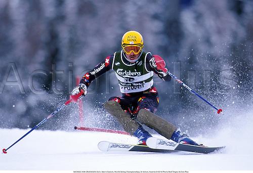 MICHAEL VON GRUENIGEN (SUI), Men's Slalom, World Skiing Championships, St Anton, Austria 010210 Photo:Neil Tingle/Action Plus...2001.Winter Sports.winter sport.winter sports.wintersport.wintersports.alpine.ski.skier.man