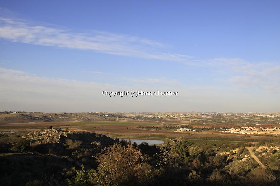 Israel, Shephelah, Crusader fortress Castellum Arnoldi overlooking Ayalon Valley