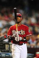 Jul. 11, 2010; Phoenix, AZ, USA; Arizona Diamondbacks outfielder Justin Upton against the Florida Marlins at Chase Field. Mandatory Credit: Mark J. Rebilas-