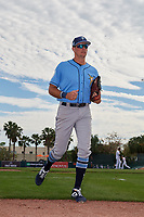 Tampa Bay Rays center fielder Josh Lowe (71) jogs back to the dugout during a Grapefruit League Spring Training game against the Baltimore Orioles on March 1, 2019 at Ed Smith Stadium in Sarasota, Florida.  Rays defeated the Orioles 10-5.  (Mike Janes/Four Seam Images)