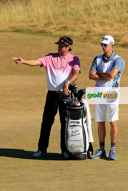 Bubba Watson (USA) and caddy Ted Scott at the 5th green during Friday's Round 2 of the 2015 U.S. Open 115th National Championship held at Chambers Bay, Seattle, Washington, USA. 6/20/2015.<br /> Picture: Golffile | Eoin Clarke<br /> <br /> <br /> <br /> <br /> All photo usage must carry mandatory copyright credit (&copy; Golffile | Eoin Clarke)