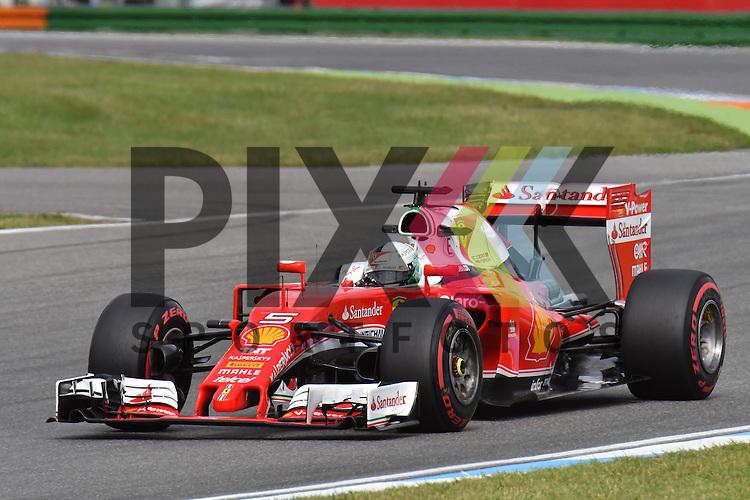 Nr.5 Sebastian Vettel im FERRARI bei der Formel 1 auf dem Hockenheimring.<br /> <br /> Foto &copy; PIX-Sportfotos *** Foto ist honorarpflichtig! *** Auf Anfrage in hoeherer Qualitaet/Aufloesung. Belegexemplar erbeten. Veroeffentlichung ausschliesslich fuer journalistisch-publizistische Zwecke. For editorial use only.