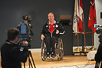 Paralympic medallist and Pyeong Chang 2018 Chef de Mission Todd Nicholson speaks to students ftom the West Lynde Public School during Paralympic Schools Week at the Abilities Centre in Whitby Ontario April 26, 2017.