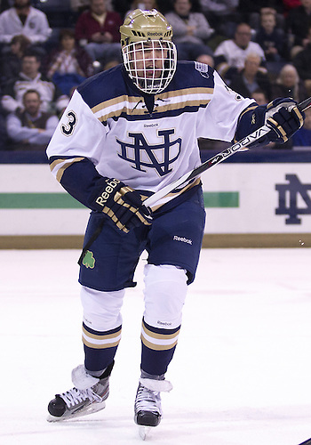 January 25, 2013:  Notre Dame defenseman Shayne Taker (3) during NCAA Hockey game action between the Notre Dame Fighting Irish and the Ferris State Bulldogs at Compton Family Ice Arena in South Bend, Indiana.  Ferris State defeated Notre Dame 3-1.