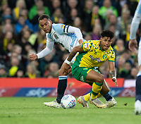 Blackburn Rovers' Elliott Bennett (left) battles with Norwich City's Onel Hernandez (right) <br /> <br /> Photographer David Horton/CameraSport<br /> <br /> The EFL Sky Bet Championship - Norwich City v Blackburn Rovers - Saturday 27th April 2019 - Carrow Road - Norwich<br /> <br /> World Copyright © 2019 CameraSport. All rights reserved. 43 Linden Ave. Countesthorpe. Leicester. England. LE8 5PG - Tel: +44 (0) 116 277 4147 - admin@camerasport.com - www.camerasport.com