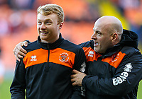 Blackpool's Chris Taylor shares a joke with assistant manager Gary Brabin before the match<br /> <br /> Photographer Alex Dodd/CameraSport<br /> <br /> The EFL Sky Bet League One - Blackpool v Sunderland - Tuesday 1st January 2019 - Bloomfield Road - Blackpool<br /> <br /> World Copyright © 2019 CameraSport. All rights reserved. 43 Linden Ave. Countesthorpe. Leicester. England. LE8 5PG - Tel: +44 (0) 116 277 4147 - admin@camerasport.com - www.camerasport.com