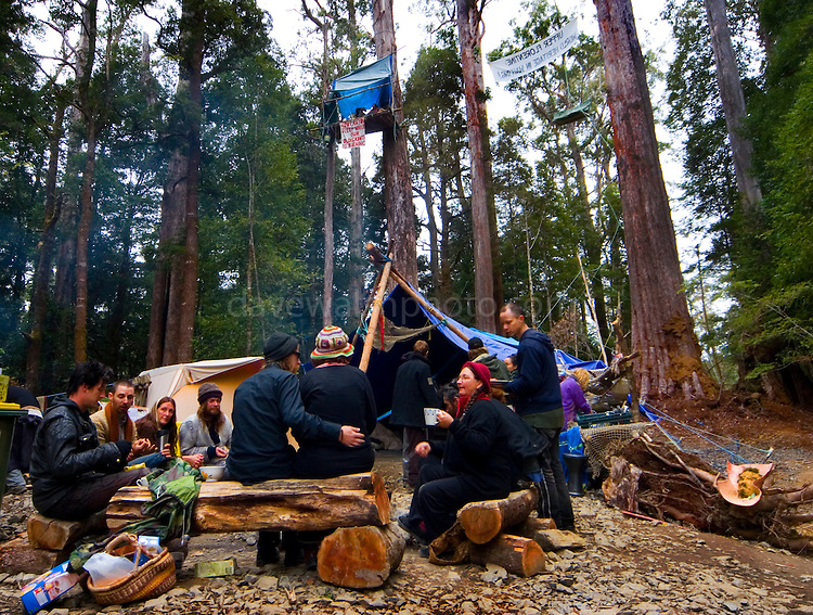 Acvtivists sitting around a fire during mealtime in the Upper Florentine. Protestors have blocked the forest access road made by contractors for Forestry Tasmania, in order to stop the logging of old growth forest in what is potentially a World Heritage Area.