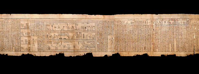"""Ancient Egyptian Book of the Dead papyrus - Spell 105 for gratifying the deceased with Ka, Iufankh's Book of the Dead, Ptolemaic period (332-30BC).Turin Egyptian Museum.  Black background<br /> <br /> The spell is """" Hail to thee, my spirit, my lifetime. Behold I am come unto thee risen, powerful, posessed of a soul, mighty.<br /> <br /> You who weighs in the balance. may truth rise to the nose of Ra, on that day of judgement, ley not my head be taken away from me.""""<br /> <br /> The translation of  Iuefankh's Book of the Dead papyrus by Richard Lepsius marked a truning point in the studies of ancient Egyptian funereal studies."""