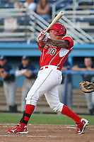 Batavia Muckdogs first baseman David Bergin #30 at bat during an exhibition game against the Newark Pilots of the Perfect Game Collegiate Baseball Lague at Dwyer Stadium on June 15, 2012 in Batavia, New York.  Batavia defeated Newark 8-0.  (Mike Janes/Four Seam Images)