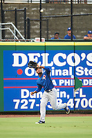 GCL Blue Jays left fielder D.J. Daniels (24) catches a fly ball during a game against the GCL Phillies on August 16, 2016 at Bright House Field in Clearwater, Florida.  GCL Blue Jays defeated GCL Phillies 2-1.  (Mike Janes/Four Seam Images)