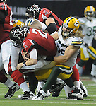 Green Bay Packers linebacker Clay Matthews makes a sack against the Atlanta Falcons quarterback Matt Ryan during the second quarter of the Divisional round playoff game at the Georgia Dome in Atlanta, Ga., on Saturday, Jan. 15, 2011.