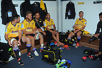 Hurricanes players wait for Prince Harry in the changing rooms after the Super Rugby match between the Hurricanes and Sharks at Westpac Stadium, Wellington, New Zealand on Saturday, 9 May 2015. Photo: Dave Lintott / lintottphoto.co.nz