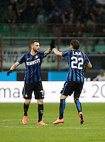 Calcio, Coppa Italia: semifinale di ritorno Inter vs Juventus. Milano, stadio San Siro, 2 marzo 2016. <br /> FC Inter&rsquo;s Marcelo Brozovic, second from right, celebrates with teammate Adem Ljajic, after scoring during the Italian Cup second leg semifinal football match between Inter and Juventus at Milan's San Siro stadium, 2 March 2016.<br /> UPDATE IMAGES PRESS/Isabella Bonotto