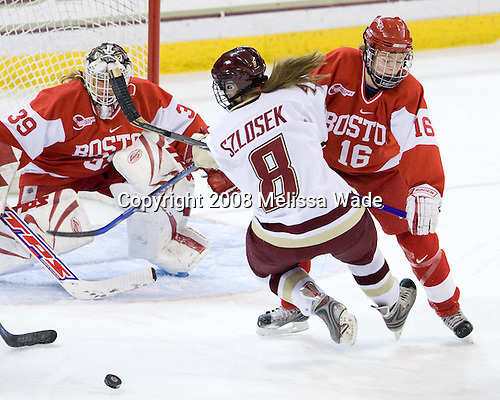 Allyse Wilcox (BU - 39), Allison Szlosek (Boston College - 8), Sarah Appleton (BU - 16) - The Boston University Terriers defeated the Boston College Eagles 4-1 on Saturday, November 22, 2008, at Conte Forum in Chestnut Hill, Massachusetts.