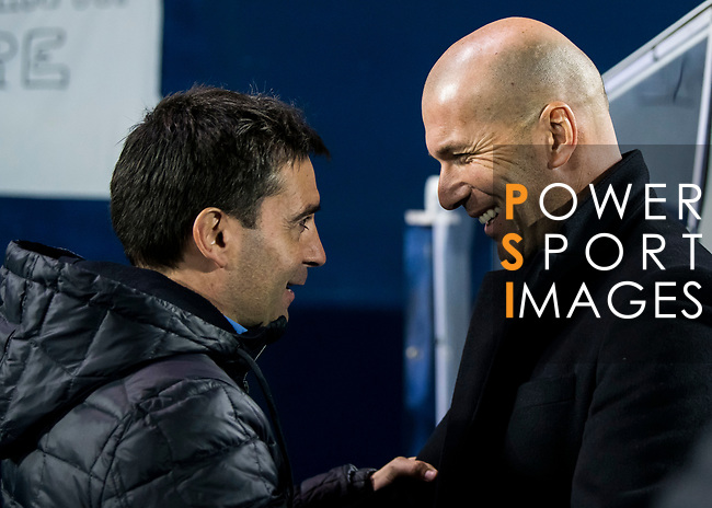 Coach Asier Garitano Aguirrezabal of CD Leganes greets manager Zinedine Zidane of Real Madrid prior to the Copa del Rey 2017-18 match between CD Leganes and Real Madrid at Estadio Municipal Butarque on 18 January 2018 in Leganes, Spain. Photo by Diego Gonzalez / Power Sport Images