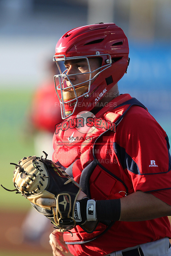 Pawtucket Red Sox catcher Mike Rivera #23 during a game against the Empire State Yankees at Dwyer Stadium on May 5, 2012 in Batavia, New York.  Pawtucket defeated Empire State 9-3.  (Mike Janes/Four Seam Images)