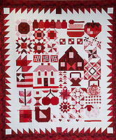 "NWA Democrat-Gazette/ANTHONY REYES @NWATONYR<br /> ""Farm Girl Goes Red and White"" by Barbara Hamernik winner of Judge's Choice and First Place, Pieced, Twin/Full Size Category in the Tomorrow's Heirlooms XVI quilt show. Winning quilts Monday, April 3, 2017 at the Shiloh Museum in Springdale."