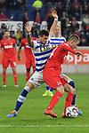 10.04.2019, Schauinsland-Reisen-Arena, Duisburg, GER, 2. FBL, MSV Duisburg vs. 1. FC Koeln,<br />  <br /> DFL regulations prohibit any use of photographs as image sequences and/or quasi-video<br /> <br /> im Bild / picture shows: <br /> Dominick Drexler (FC Koeln #24), im Zweikampf gegen  Andreas Wiegel (MSV Duisburg #7),  <br /> <br /> Foto © nordphoto / Meuter