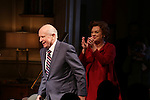 """Terrence McNally and Tyne Daly during the Broadway Opening Night Performance Curtain Call for """"Mothers and Sons"""" at the Golden Theatre on March 24, 2014 in New York City."""