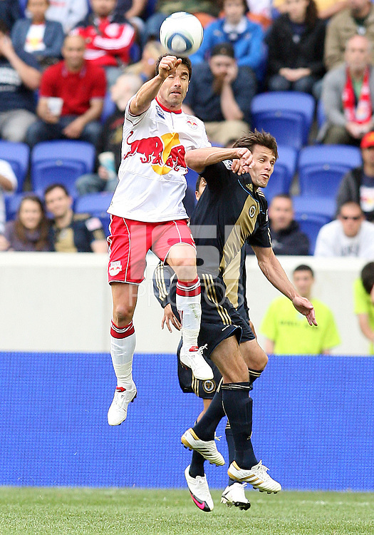 Cristian Arrieta #26 of the Philadelphia Union loses a header to Juan Pablo Angel #9 of the New York RedBulls during a MLS  match on April 24 2010, at RedBull Arena, in Harrison, New Jersey.RedBulls won 2-1.