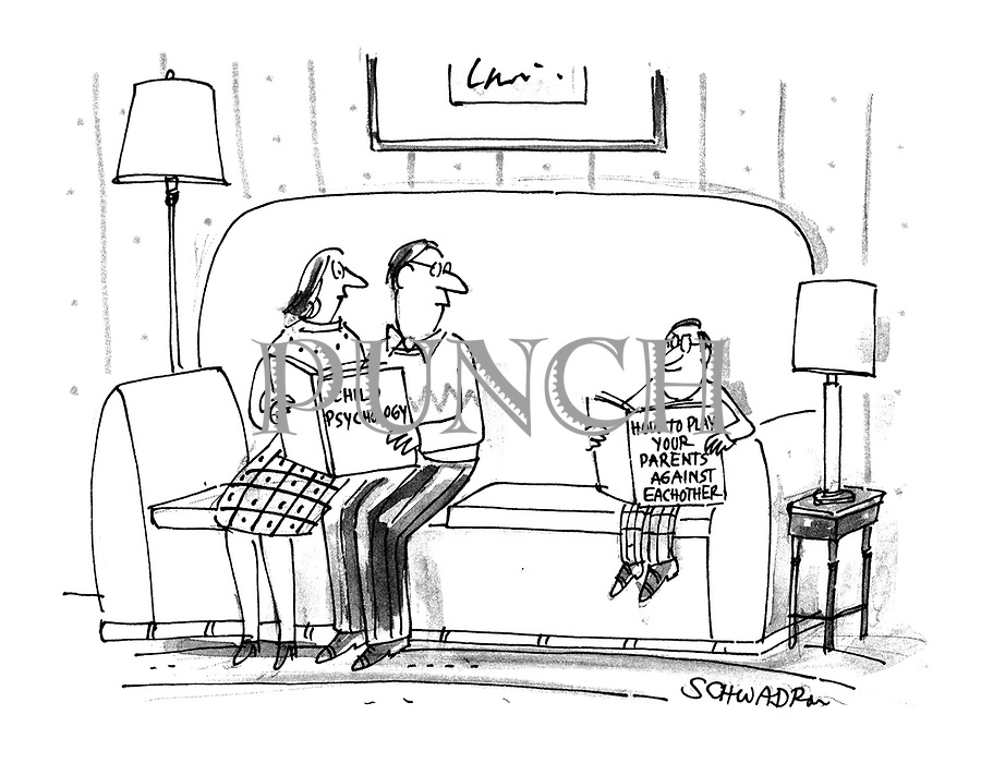 (A family sitting on a sofa reading. The parents are reading 'Child Psychology' while the son reads 'How to Play Your Parents Against Each Other')