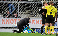 Blackpool's Mark Howard receives treatment for an injury from Blackpool's physiotherapist Phil Horner<br /> <br /> Photographer Chris Vaughan/CameraSport<br /> <br /> The EFL Sky Bet League One - Burton Albion v Blackpool - Saturday 16th March 2019 - Pirelli Stadium - Burton upon Trent<br /> <br /> World Copyright &copy; 2019 CameraSport. All rights reserved. 43 Linden Ave. Countesthorpe. Leicester. England. LE8 5PG - Tel: +44 (0) 116 277 4147 - admin@camerasport.com - www.camerasport.com