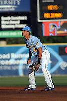 Myrtle Beach Pelicans 2nd baseman Santiago Chirino #4 in the field during a game against the Frederick Keys at Tickerreturn.com Field at Pelicans Ballpark on April 23, 2012 in Myrtle Beach, South Carolina. Myrtle Beach defeated Frederick by the score of 7-1. (Robert Gurganus/Four Seam Images)