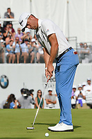 Justin Thomas (USA) sinks his birdie putt on 18 to win the 2019 BMW Championship, Medinah Golf Club, Chicago, Illinois, USA. 8/18/2019.<br /> Picture Ken Murray / Golffile.ie<br /> <br /> All photo usage must carry mandatory copyright credit (© Golffile | Ken Murray)