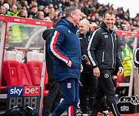 11th January 2020; Bet365 Stadium, Stoke, Staffordshire, England; English Championship Football, Stoke City versus Milwall FC; Millwall Manager Gary Rowett and Stoke City Manager Michael O'Neill share a smile - Strictly Editorial Use Only. No use with unauthorized audio, video, data, fixture lists, club/league logos or 'live' services. Online in-match use limited to 120 images, no video emulation. No use in betting, games or single club/league/player publications