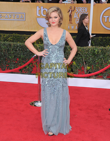 Julia Stiles.Arrivals at the 19th Annual Screen Actors Guild Awards at the Shrine Auditorium in Los Angeles, California, USA..27th January 2013.SAG SAGs full length dress blue grey gray silver sequins sequined hand on hip.CAP/DVS.©DVS/Capital Pictures.