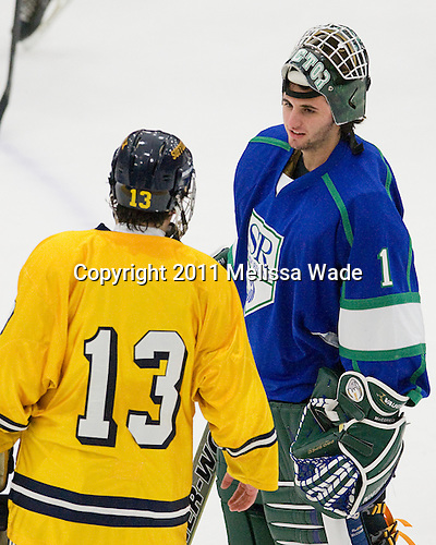 Tim Benedetto (Suffolk - 13) and Frankie McCormick (Salve Regina - 1) are both from Peabody, Massachusetts. - The visiting Salve Regina University Seahawks defeated the Suffolk University Rams 5-2 on Saturday, November 19, 2011, at Walter Brown Arena in Boston, Massachusetts.
