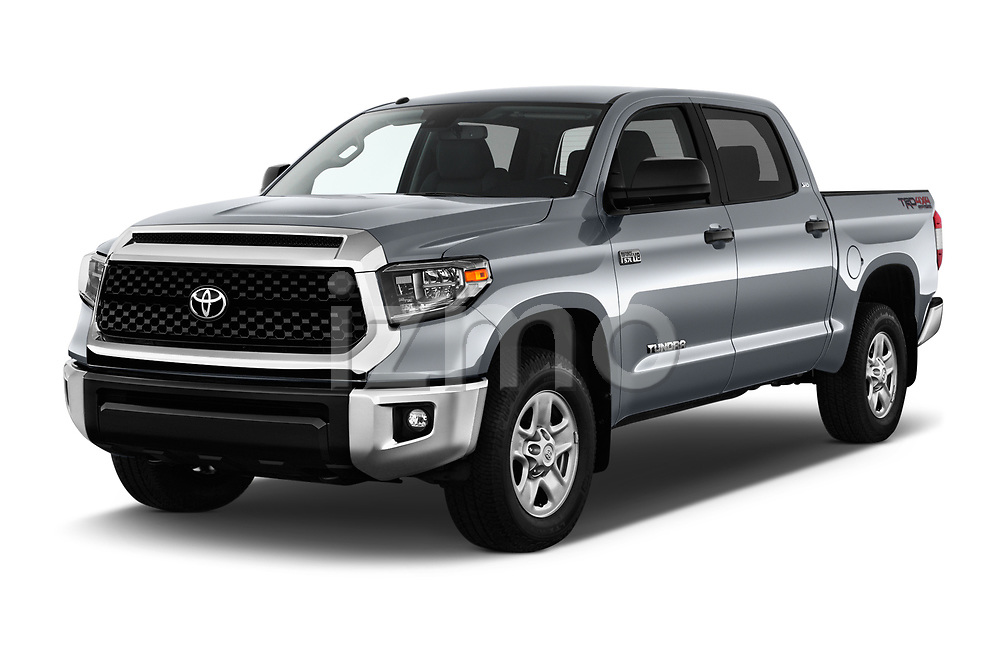 2019 Toyota Tundra SR5 5.7L Crew Max 4WD Short Bed 4 Door Pick Up angular front stock photos of front three quarter view