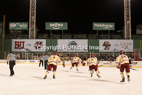 Connor Moore (BC - 7), David Cotton (BC - 17), Jesper Mattila (BC - 8), JD Dudek (BC - 15), Julius Mattila (BC - 26) - The Boston College Eagles defeated the Providence College Friars 3-1 (EN) on Sunday, January 8, 2017, at Fenway Park in Boston, Massachusetts.