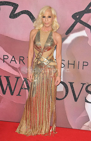 Donatella Versace at the Fashion Awards 2016, Royal Albert Hall, Kensington Gore, London, England, UK, on Monday 05 December 2016. <br /> CAP/CAN<br /> ©CAN/Capital Pictures /MediaPunch ***NORTH AND SOUTH AMERICAS ONLY***