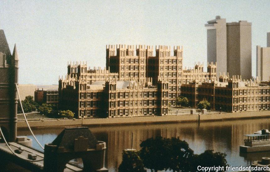 London:   3.  London Bridge City Scheme--Gothic Revival, Philip Johnson and John Burgee.