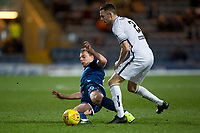 3rd March 2020; Dens Park, Dundee, Scotland; Scottish Championship Football, Dundee FC versus Alloa Athletic; Paul McGowan of Dundee challenges for the ball with Scott Taggart of Alloa Athletic