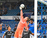 Birmingham City keeper David Stockdale  gets his hand to the ball in front of Ellis Harrison of Portsmouth during Portsmouth vs Birmingham City, Caraboa Cup Football at Fratton Park on 6th August 2019