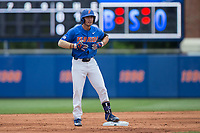 Jonathan India (6) of the Florida Gators reacts after hitting a double during the game against the Wake Forest Demon Deacons in Game Three of the Gainesville Super Regional of the 2017 College World Series at Alfred McKethan Stadium at Perry Field on June 12, 2017 in Gainesville, Florida. The Gators defeated the Demon Deacons 3-0 to advance to the College World Series in Omaha, Nebraska. (Brian Westerholt/Four Seam Images)