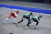 SCHAATSEN: HEERENVEEN: IJsstadion Thialf, 17-06-2013, Training zomerijs, Team Pursuit, Jan Blokhuijsen, Sven Kramer, Koen Verweij, ©foto Martin de Jong