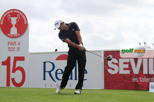 Gareth Maybin (NIR) tees off on the 15th tee during Friday's Round 2 of the Open de Espana at Real Club de Golf de Sevilla, Seville, Spain, 4th May 2012 (Photo Eoin Clarke/www.golffile.ie)